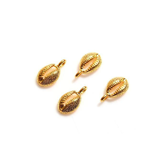 Gold Plated 925 Sterling Silver Hammered Shell Charms Approx 7mm x 13mm (4pcs)