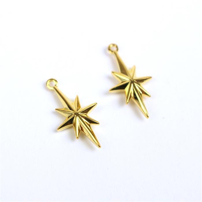 Gold Plated 925 Sterling Silver North Star Charms Approx 18x10mm 2pcs