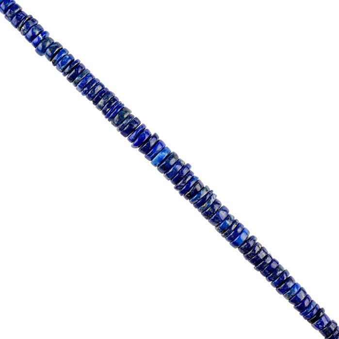100cts Lapis Lazuli Graduated Plain Wheels Approx 5x1 to 8x2mm, 16cm Strand.