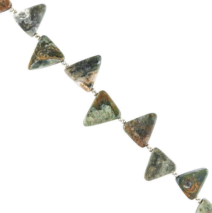 75cts Ocean Jasper Graduated Plain Triangles Approx 14x11 to 16x14mm, 12cm Strand.