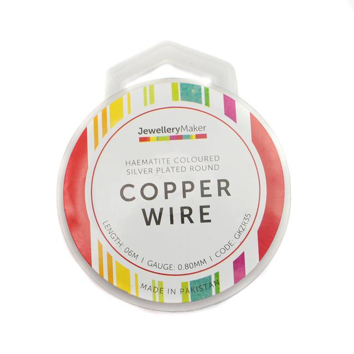 Haematite Coloured Silver Plated Copper Wire - 0.8mm (6m)