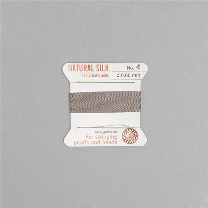 Silk Thread Size 04 (.6mm, .024 in) - Grey, with needle, 2m (6.5ft)