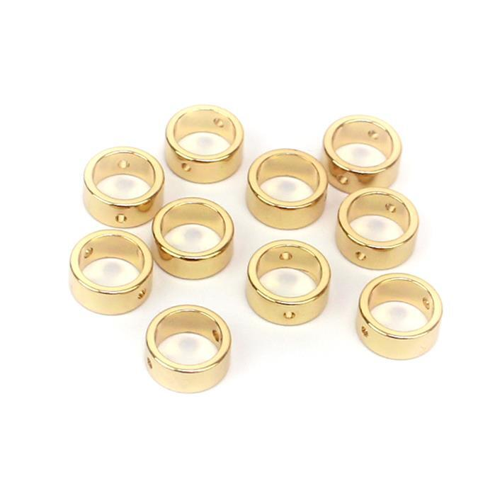 Gold Plated Base Metal Beads, Apprx 8.3mmx3.6mm, ID 6.1mm (10pk)