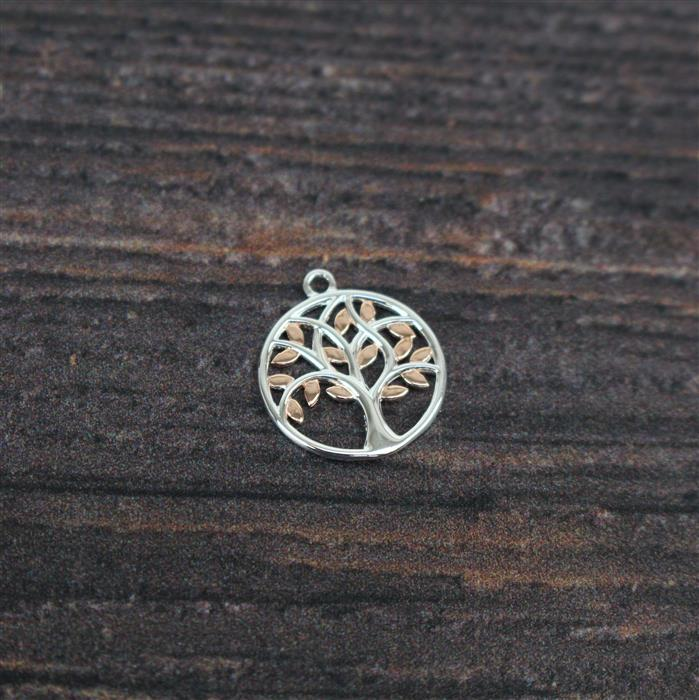 Two Tone Gold Plated 925 Sterling Silver Tree Pendant ,15x17mm,1PCS