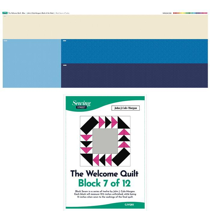 John Cole-Morgan's Block of the Week - Block 7. Blue 'Welcome Quilt' Block Kit: Fabric Panel & Instructions