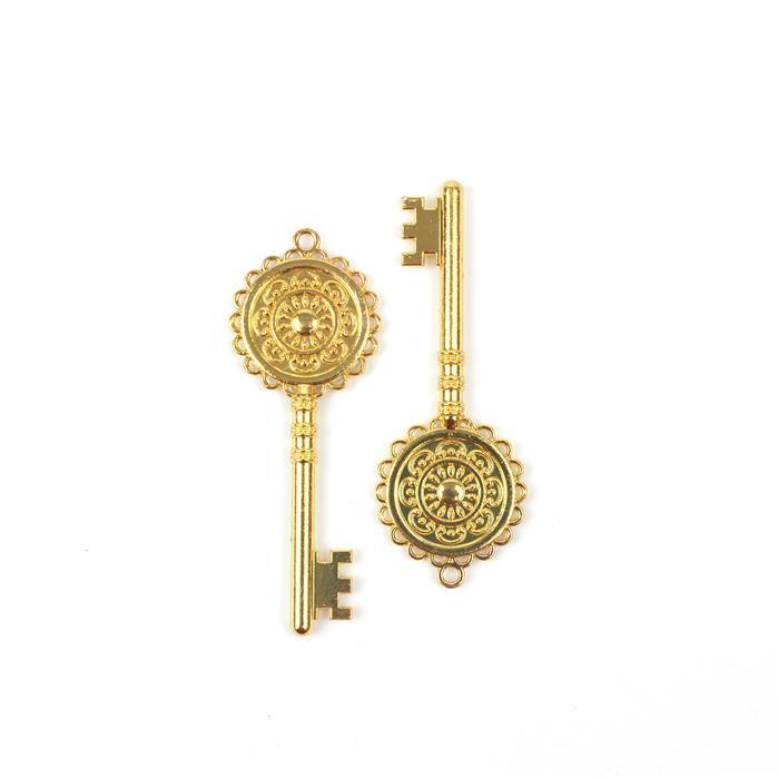 Gold Colour Bezel Pendant in Key Shape Approx 30X80mm (Set of 2)