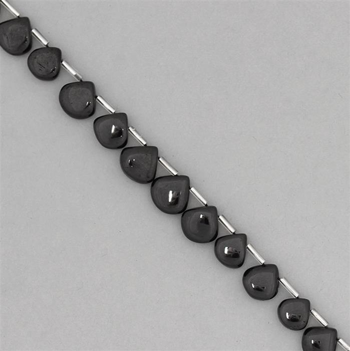 130cts Black Spinel Graduated Plain Drops Approx 8 to 12mm, 25cm Strand.