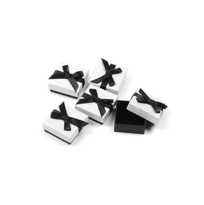 Silver Glitter Earring Box with Black Grosgrain Bow Approx 45 x 50 x 20mm, 5pk