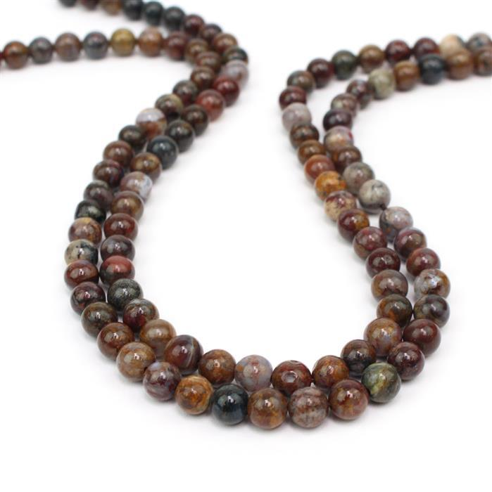 Deluxe Duo! Inc, 2x 90cts Pietersite Plain Rounds Approx 6mm, 38cm strands
