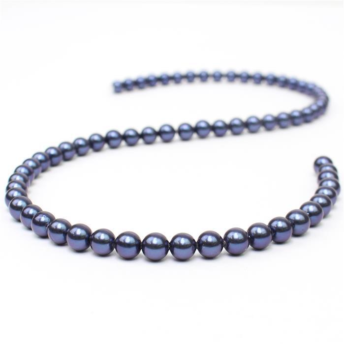 Indigo Shell Pearl Plain Rounds Approx 6mm, 38cm length