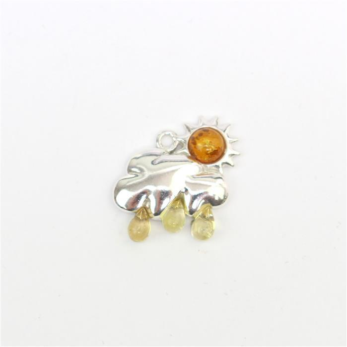 Baltic Multi-Colour Amber Sun and Rain Charm Approx 19x16mm Sterling Silver