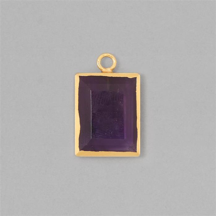 15cts Gold Electroplated Amethyst Faceted Rectangle Pendant Approx 20x15mm With 4mm Loop.(1pcs)