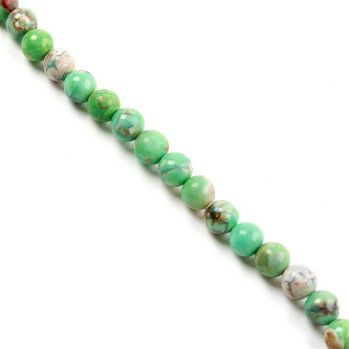 150cts Green Marble Agate Plain Rounds 8mm, Approx 38cm strand