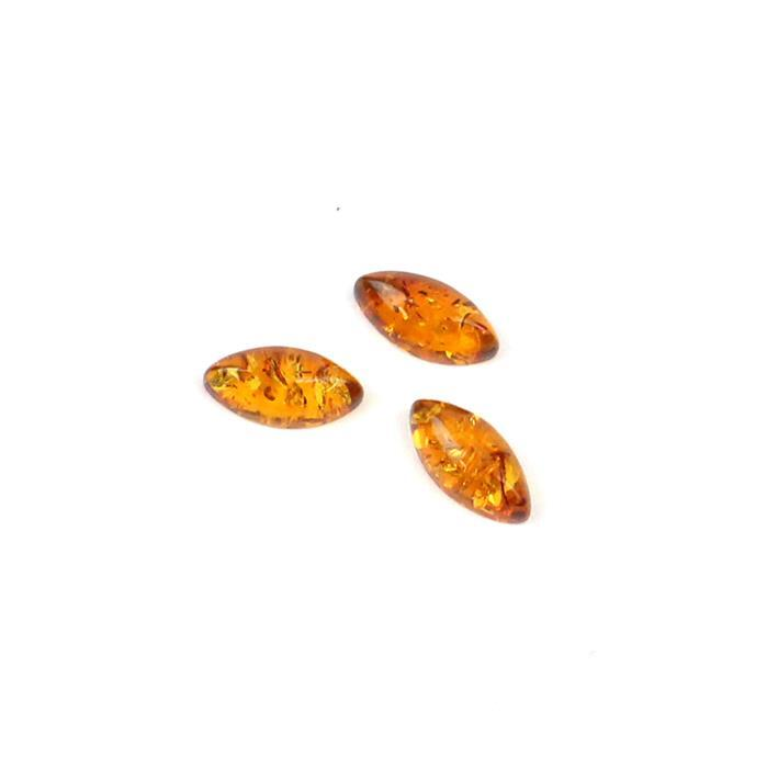 Baltic Cognac Amber Marquise Cabochons Approx 10x5mm (3pcs)