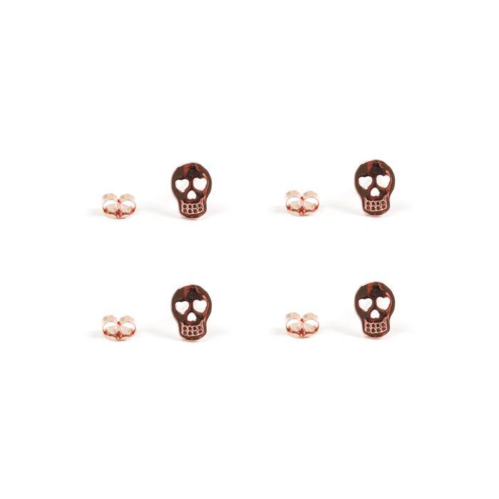 Rose Gold Plated 925 Sterling Silver Sugar Skull Earrings with Butterfly Approx 8x6mm, 2 Pairs