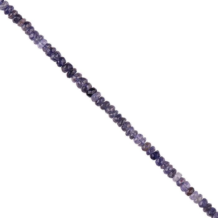 50cts Iolite Graduated Faceted Rondelles Approx 3x1 to 5x2mm, 30cm Strand.