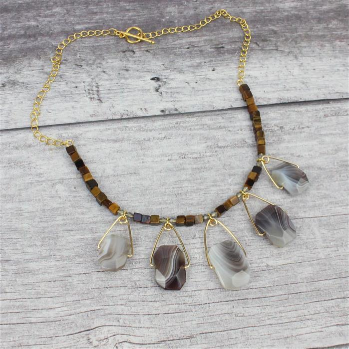 Midas; 300cts Botswana Agate Slabs, 60cts Tigers Eye Cubes 4mm, Gold Plated Wire & Findings