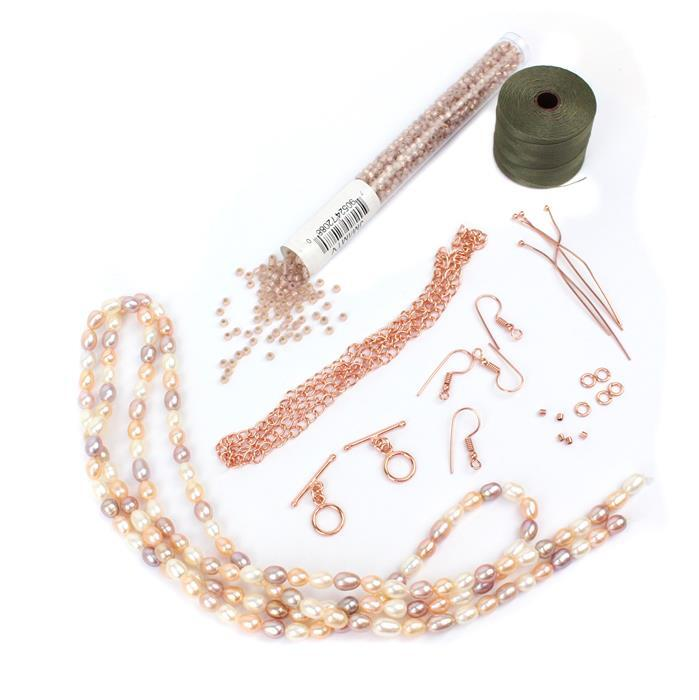 Statement: 1m of multi-colour rice pearls, Lt Rose S/L 8/0s,Rose Gold plated findings,cord