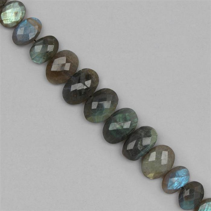 144cts Labradorite Graduated Faceted Ovals Approx 11x8 to 21x12mm, 18cm Strand.