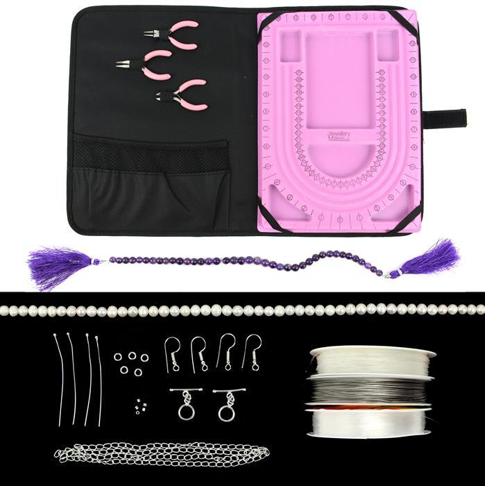 Mothers Day Makes Inc; Amethyst, Freshwater Pearls, Silver Plated Findings, Threading Material and a JewelleryMaker 3pc Tool & Tray Travel Set