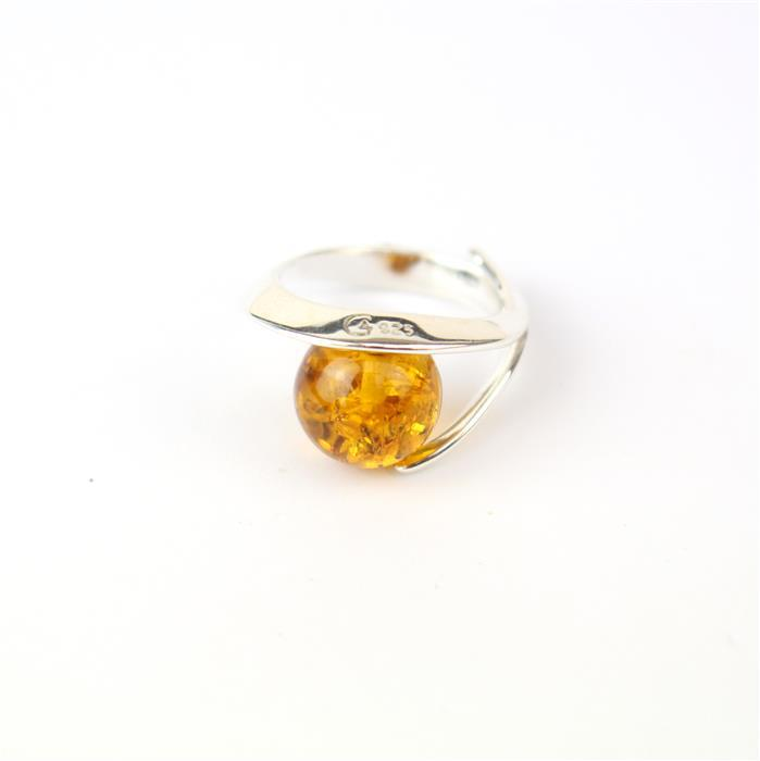 925 Silver Wave Pendant with Baltic Cognac Amber Round Cabochon Approx 25x20mm