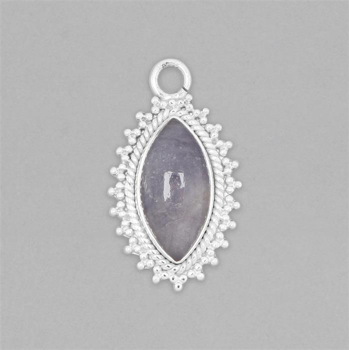925 Sterling Silver Gemset Pendant Approx 33x19mm Inc. 7cts Tanzanite Marquise Cabochon Approx 20x10mm