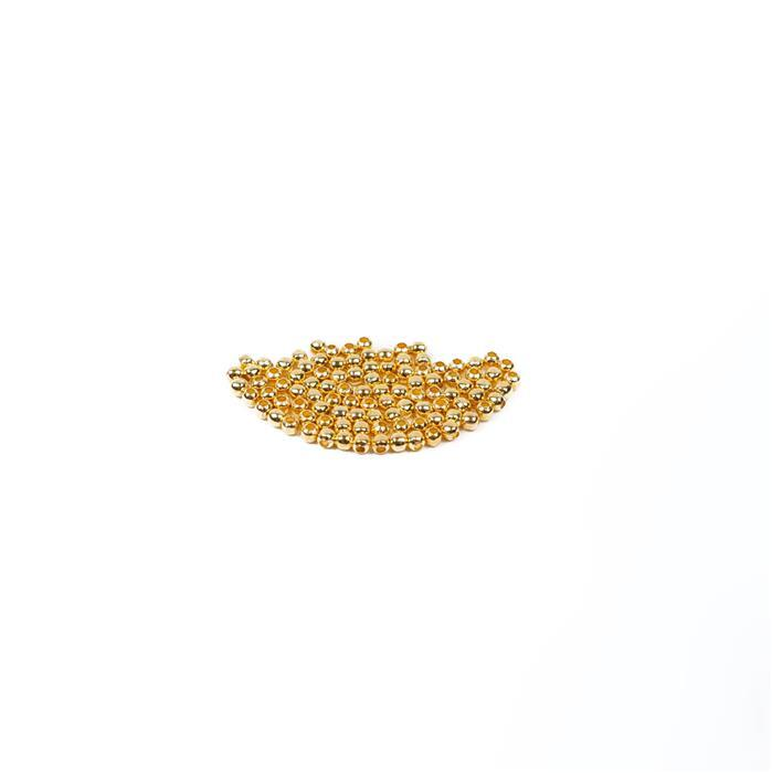 Gold Plated Brass Round Beads - 2mm (100pcs/pk)