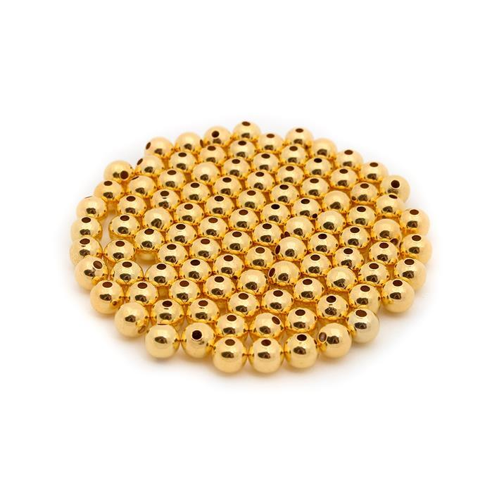 Gold Plated Brass Round Beads - 6mm (100pcs/pk)