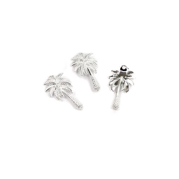 925 Sterling Silver Palm Tree Charms Approx 18x10mm (3pcs)
