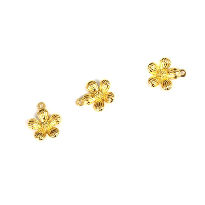 Gold Plated 925 Sterling Silver Single Spring Flower Charms Approx 10x12mm 3pcs