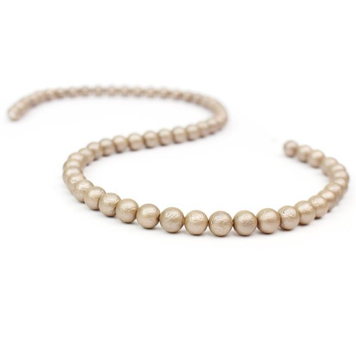 Cappachino Textured Shell Pearl Plain Rounds Approx 6mm, 38cm length