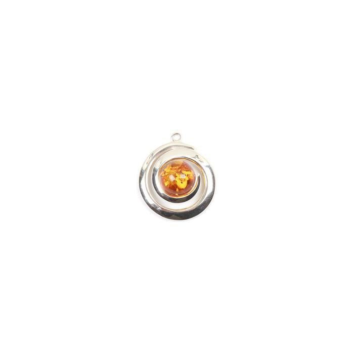 Baltic Cognac Amber Swirl Sterling Silver Pendant Approx 27x23mm