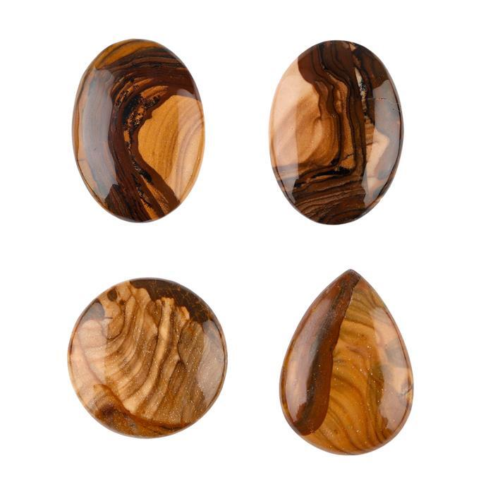 90cts Biggs Jasper Multi Shape Cabochons Assortment.