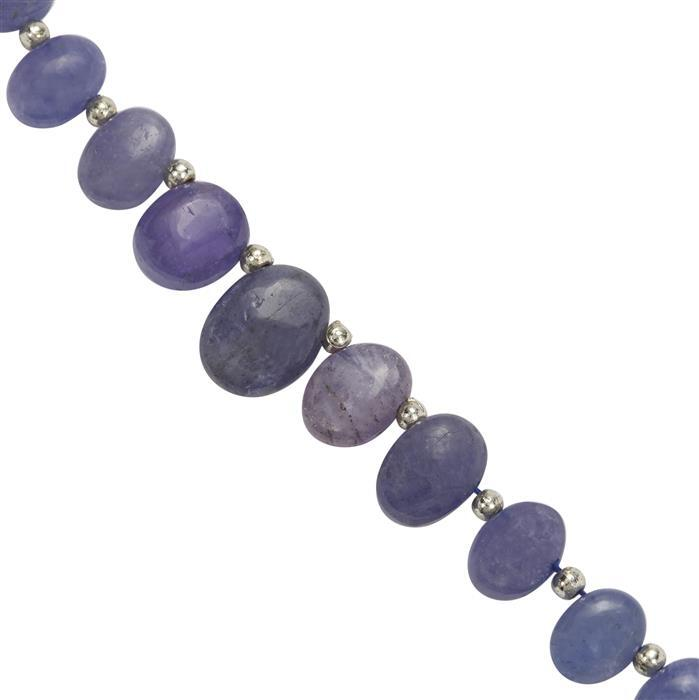 45cts Tanzanite Graduated Smooth Oval Corner Drill Approx 6x5 to 11.5x3mm, 17Cms Strand with Spacers