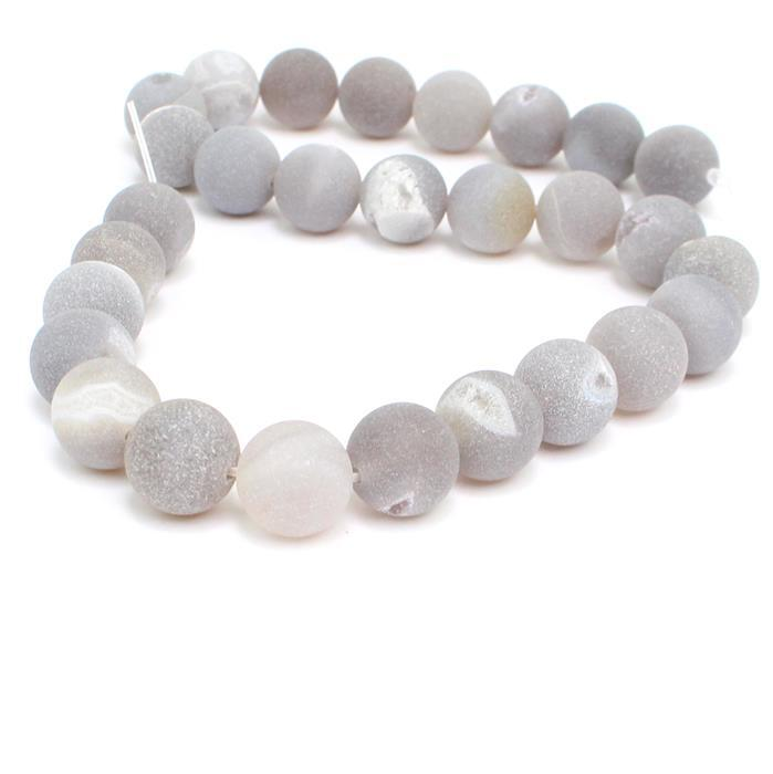510cts Gray Frosted with Druzy hole Agate Plain Rounds Approx 14mm, 38cm Strand