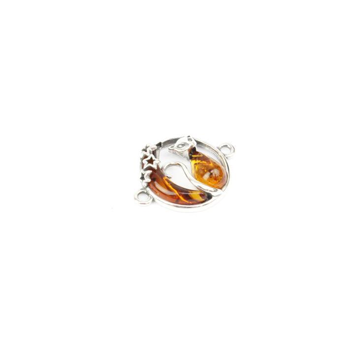 Baltic Cognac Amber Cat & Moon Sterling Silver Connector Approx 20x15mm