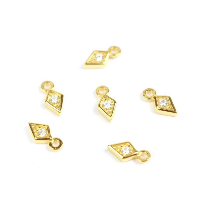 Gold Plated 925 Sterling Silver Mini Rhombus With Cubic Zircon Charms Approx 7x3mm (6pcs)