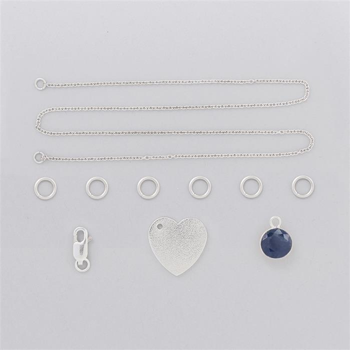 Birthstone Kit: 925 Sterling Silver Necklace Kit Inc. 2.8cts Blue Sapphire Brilliant Round 8mm (10 Pcs)