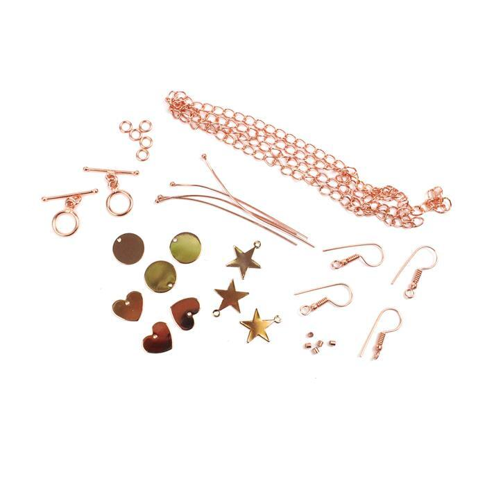 Rose Gold Personalised Jewellery Collection: Star, Heart & Circle Blanks (9pk) & Findings
