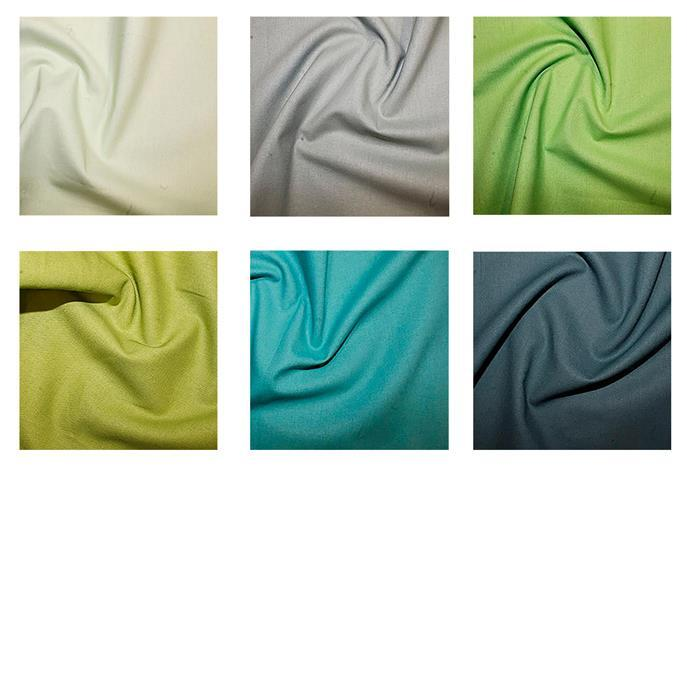 Lime to Teal Plain Fabric Bundle (3m)