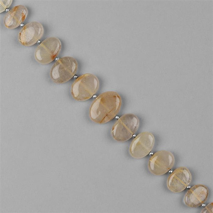 118cts Golden Rutile Quartz Graduated Plain Center Drilled Ovals Approx 9x7 to 16x11mm, 18cm Strand.