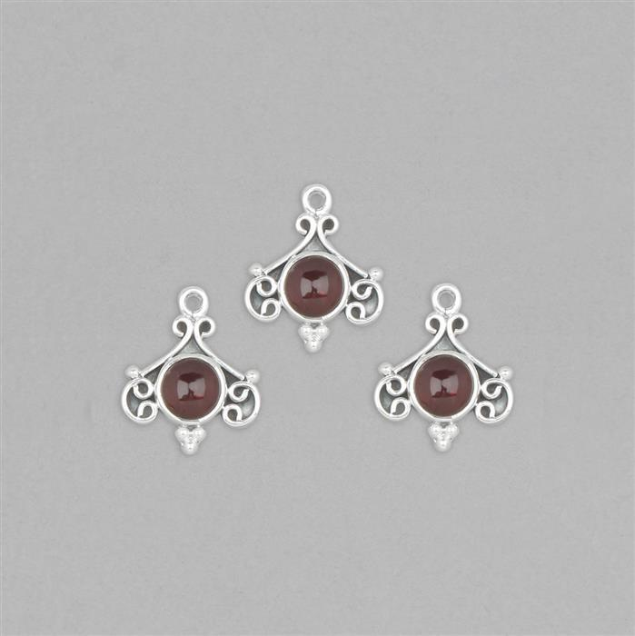 925 Sterling Silver Vintage Style Gemset Charms Approx 18x15mm Inc. 5cts Garnet Round Cabochon Approx 7mm (3pcs)