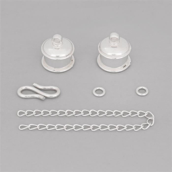 Silver Plated Base Metal Big Cord Ends Finding Pack (6pcs/pk)