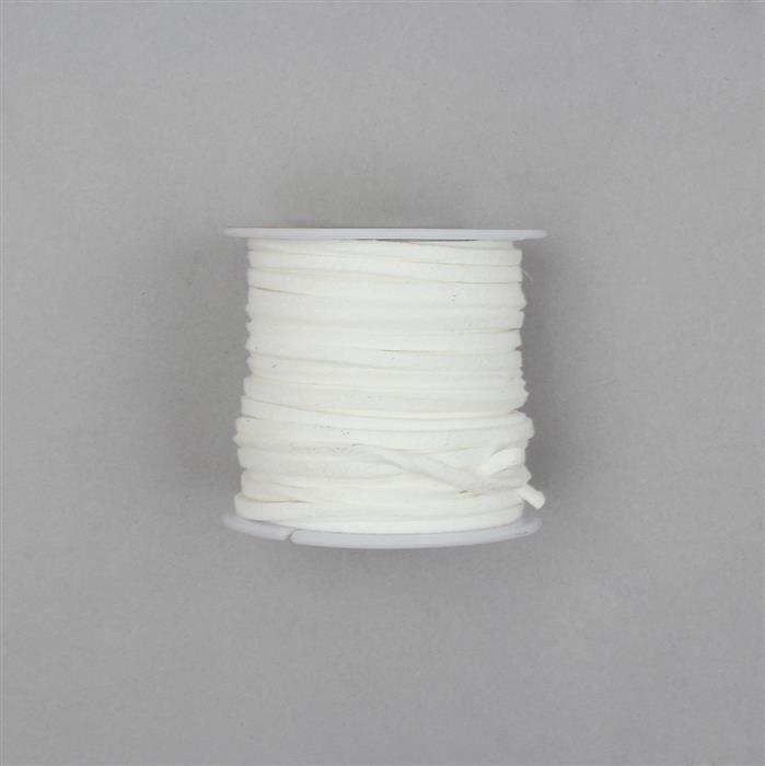 5m White Suedette Cord Approx 1.4x2.5mm