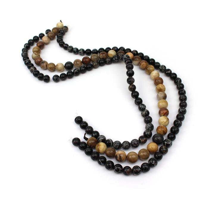 Mala Knotting Inc Black Jasper Beads With Petrified Wood Guru Beads