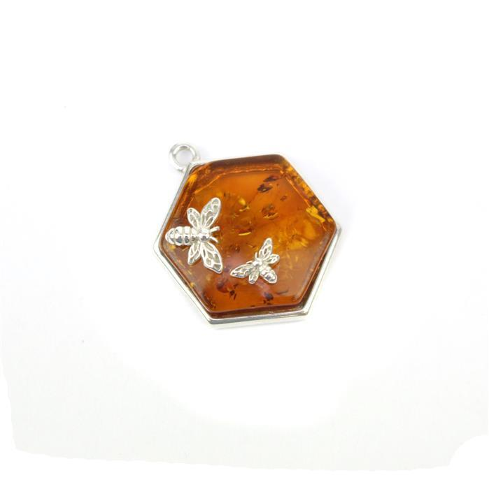 Baltic Cognac Amber Hexagon Bees Charm Approx 22x17mm Sterling Silver