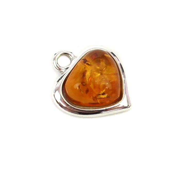 Baltic Cognac Amber Fancy Heart Charm Approx 12mm Sterling Silver