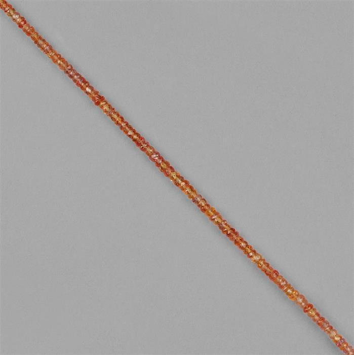 18cts Orange Sapphire Faceted Rondelles Approx 3x1mm, 14cm Strand.