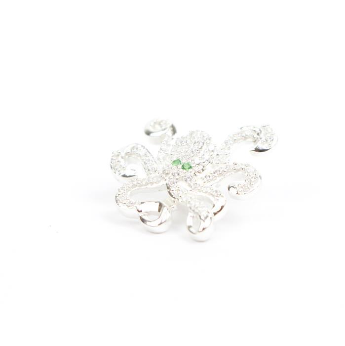 925 Sterling Silver Octopus Charm Approx 17x16mm Inc. 0.50cts Green and White Cubic Zirconia.