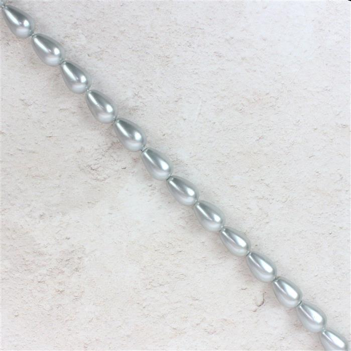 Silver Shell Pearl Drops Approx 12x8mm, 38cm strand